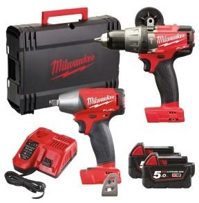 Milwaukee M18 FPP2B slagdrill+muttertrekker (2x5,0Ah)