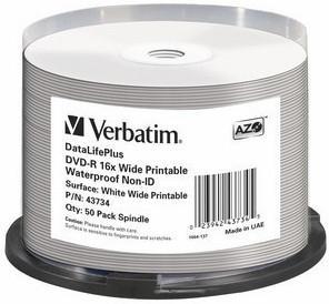 Verbatim DVD-R Bulk Wide Glossy Waterproof (43734)