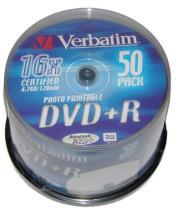 Verbatim DVD+R 16x  Printbar 4.7 GB 50 stk.