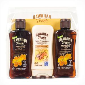 Hawaiian Tropic Travel Set Dry Oil SPF15/SPF8 + Lotion SPF15 3x100ml