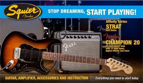 Squier Stratocaster Start Pakke (alt inkludert)