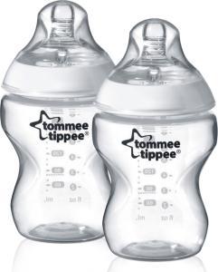 Tommee Tippee Transparent 2-Pack Tåteflasker 260ml