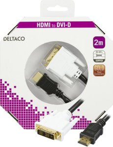 Deltaco HDMI til DVI-D 2m (HDMI-112-K)
