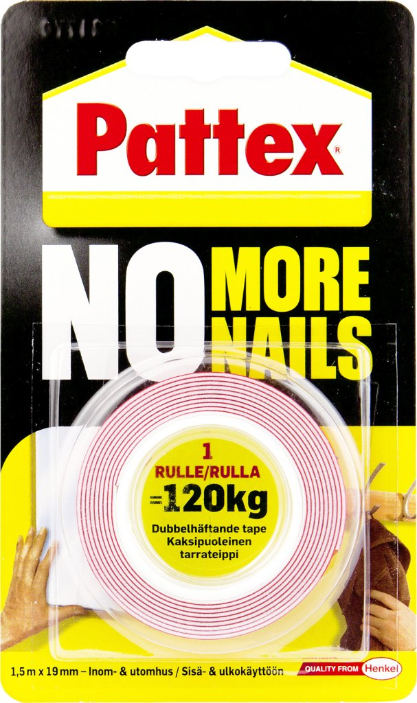Pattex No More Nails Monteringsteip 19mm x 1,5m