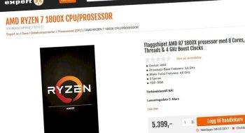 AMD Ryzen slippes 2. mars