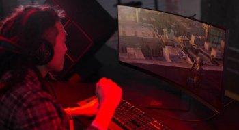 HP slipper stor spillskjerm som bøyer seg rundt spilleren
