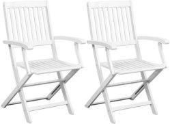 VidaXL Klappstoler hvitt akasietre 2 stk med armlener