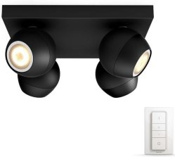 Philips Hue Buckram Firedobbel Sort