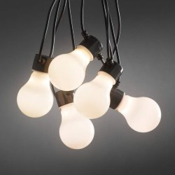 LED-lyslenke m. opalhvite pærer, utebruk, 20 lys