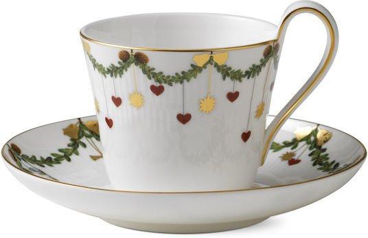 Royal Copenhagen Stjerne Riflet Jul kaffekopp med skål 24cl