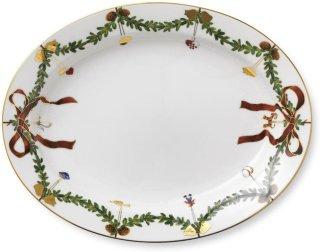 Stjerne Riflet Jul ovalt fat 37cm