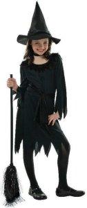 Sort Heksejente Kostyme 4-6 år