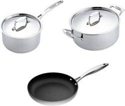 Scanpan Fusion 5 sett med kasserolle, gryte og stekepanne