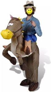 Oppblåsbart Cowboy og Hest Kostyme