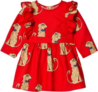 Mini Rodini Spaniels Woven Ruffled Dress