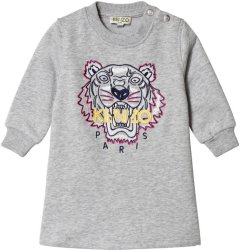 Kenzo Grey Tiger Embroidered Dress