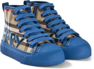 Burberry Antique Check Blue Branded Hi-Top Sneakers