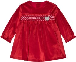 Mayoral Red Velvet Smock Dress