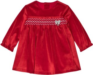 Mayoral Red Velvet Smock Dress