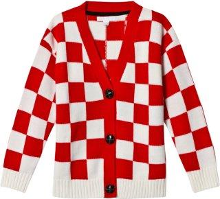 Burberry Red Logo Check Cardigan
