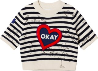 Burberry Heart Motif Striped Sweater