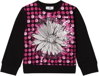 Young Versace Flower Medusa Sequin Sweatshirt