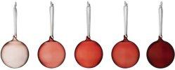 Iittala rød julekule glass 8cm 5 stk