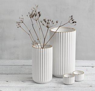 Seneste Best pris på Lyngby Porcelæn Lyngby vase hvit/gull 20cm - Se MI19