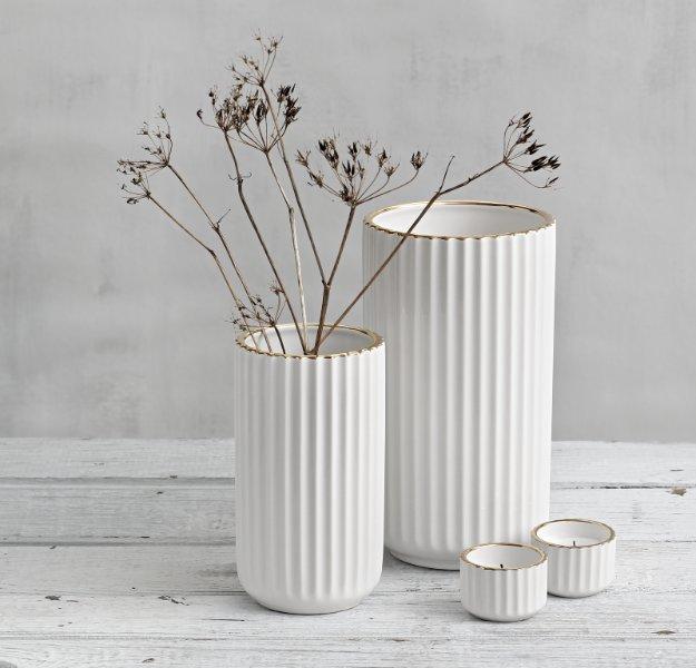 Lyngby Porcelæn Lyngby vase hvit/gull 20cm