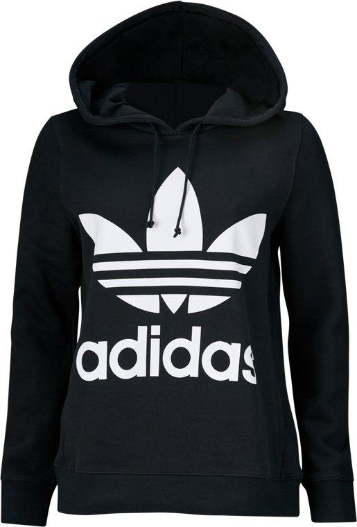 adidas originals adicolor trefoil hoodie white black, adidas