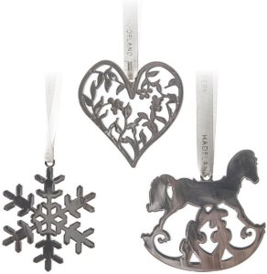 Hadeland Glassverk Marias Jul juletrepynt 3 stk hjerte, snøfnugg, gyngehest