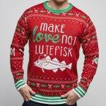SillySanta Make Love Not Lutefisk julegenser (Herre)