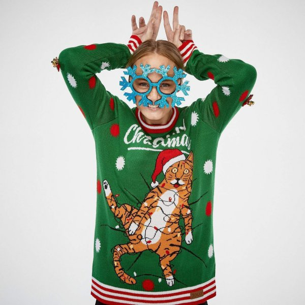 SillySanta Meowy Christmas m/ blinkelys (Dame)