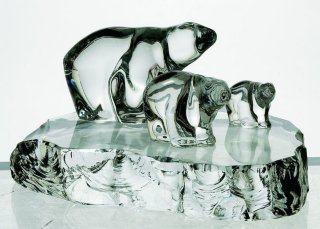 Hadeland Glassverk 3 isbjørner på blokk