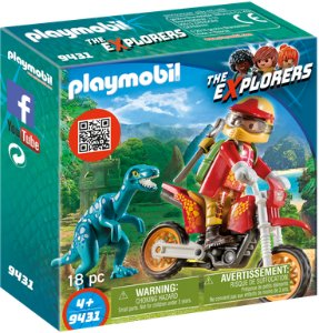 Playmobil The Explorers 9431 On Bike with Velociraptor