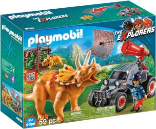 Playmobil The Explorers 9434 Enemy Quad with Triceratops