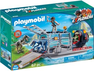 Playmobil The Explorers 9433 Enemy Airboat with Raptors