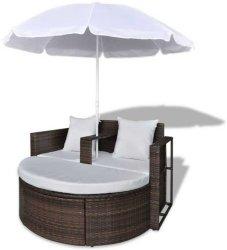 VidaXL Loungesett med parasoll
