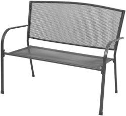 VidaXL Hagebenk med armlener stålnetting