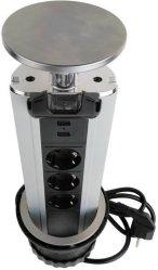 Namron Pop-up strømsøyle 3 stikk 2 USB (1504923)
