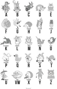 Bloomingville Paper Grey ABC poster