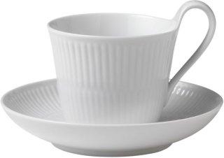 Hvit Riflet kopp 25cl med skål