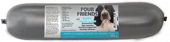 FourFriends Puppy kjøttpølse 12x800g