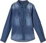 Guess Light Wash Studded Denim Shirt