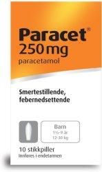 Weifa Paracet 250 mg stikkpiller 10 stk