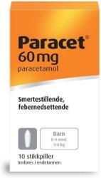 Weifa Paracet 60 mg stikkpiller 10 stk