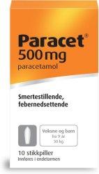 Weifa Paracet 500 mg stikkpiller 10 stk