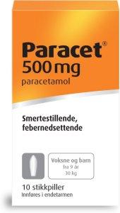 Paracet 500 mg stikkpiller 10 stk