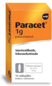 Paracet 1g stikkpiller 10 stk