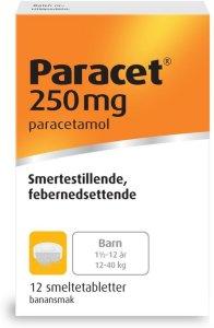 Paracet 250 mg smeltetabletter 12 stk